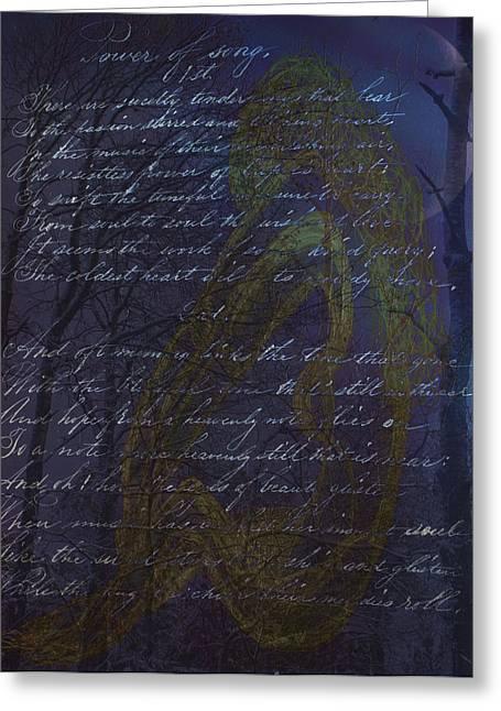 Blue Mood Nude Greeting Card by Nancy TeWinkel Lauren