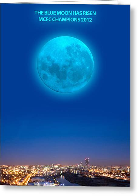 Blue Moon Greeting Card by Dandy Peacewell