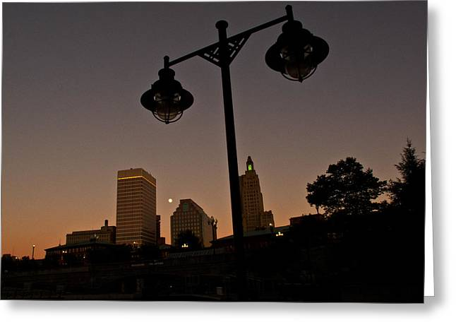 Greeting Card featuring the photograph Blue Moon Over Downtown Providence 1 by Nancy De Flon