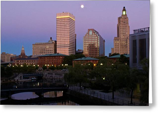 Greeting Card featuring the photograph Blue Moon Over Downtown Providence 2 by Nancy De Flon