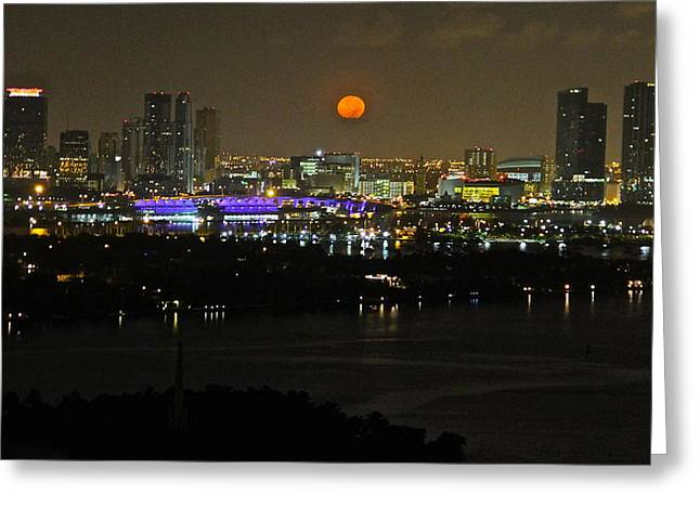 Blue Moon Over Miami Greeting Card by Ronald  Bell