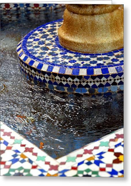 Blue Mosaic Fountain II Greeting Card