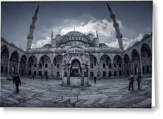 Blue Mosque Courtyard Greeting Card by Joan Carroll
