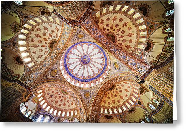 Blue Mosque Domed Ceiling Greeting Card by Artur Bogacki