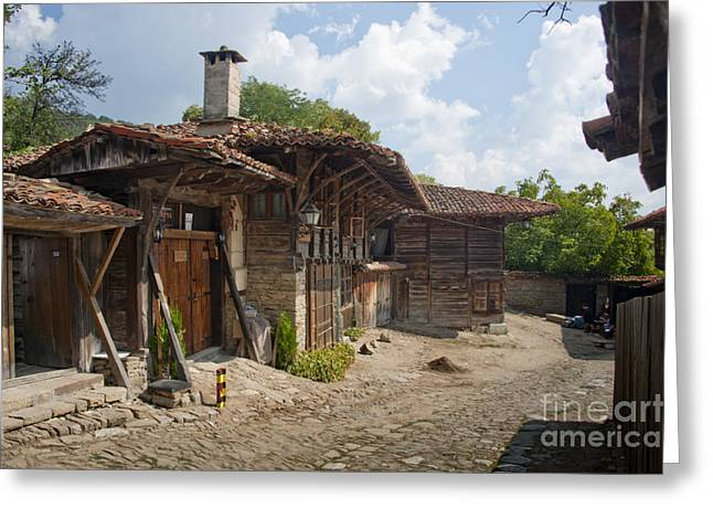 Blue Mountain Village Bulgaria Greeting Card by Donald Davis
