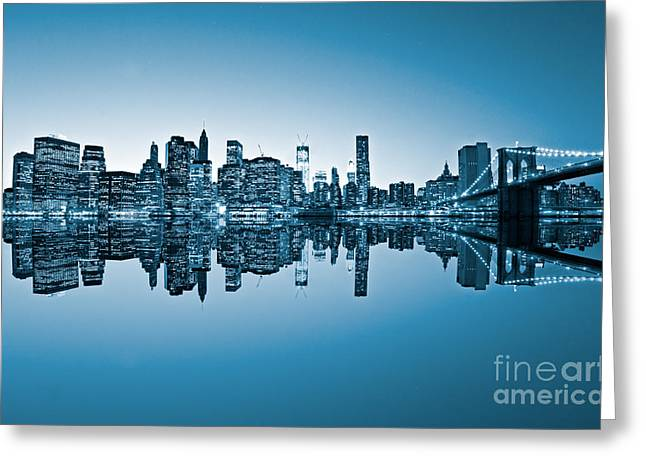 Greeting Card featuring the photograph Blue New York City by Luciano Mortula