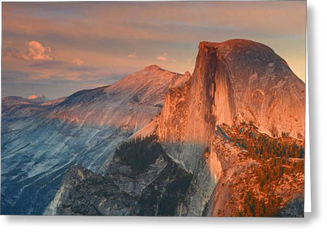 Blue Orange Sunset Half Dome Yosemite Panoramic  Greeting Card