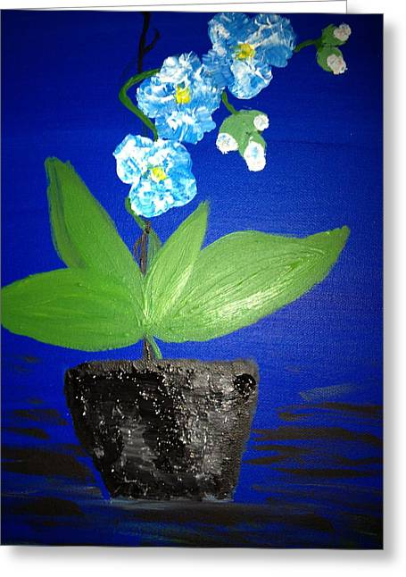 Blue Orchid 2 Greeting Card by Pretchill Smith