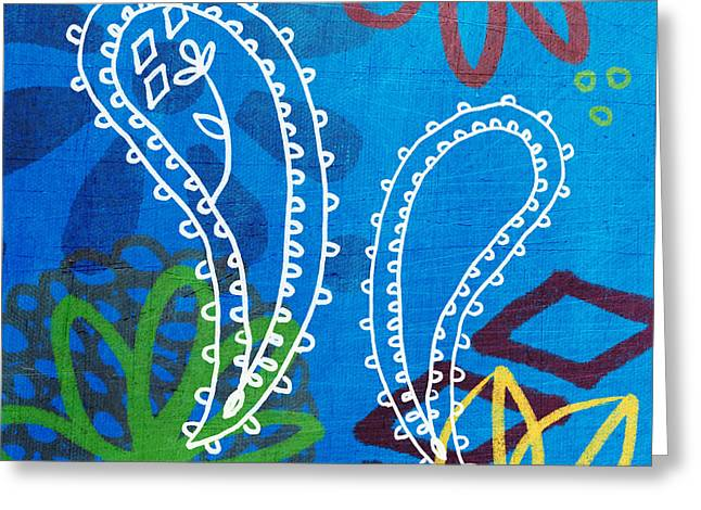 Blue Paisley Garden Greeting Card by Linda Woods