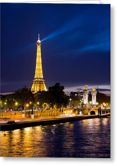 Blue Paris Greeting Card by Mircea Costina Photography