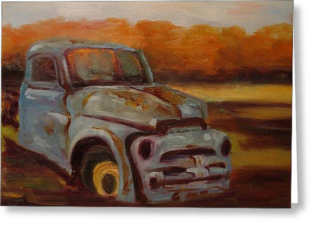 Greeting Card featuring the painting Blue Pickup by Carol Berning