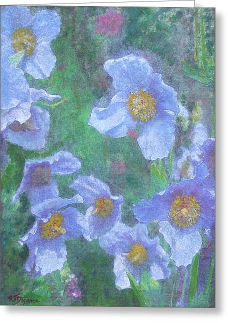 Greeting Card featuring the painting Blue Poppies by Richard James Digance