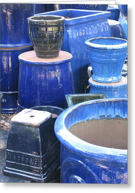 Greeting Card featuring the photograph Blue Pots by Brian Sereda