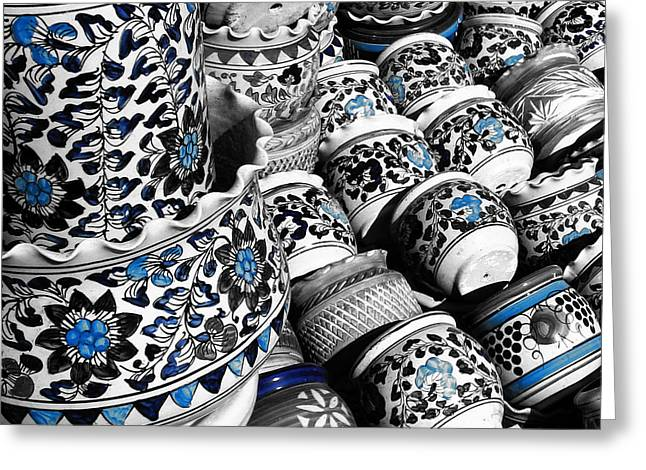 Blue Pottery Of India Greeting Card by Sumit Mehndiratta