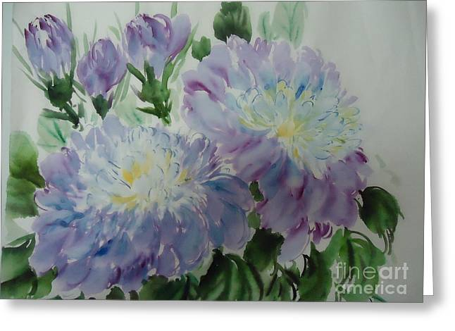 Greeting Card featuring the painting Blue Purple Flower by Dongling Sun