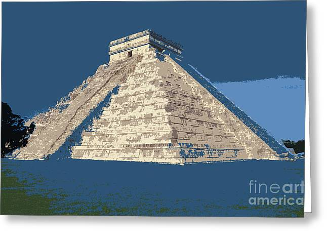 Blue Pyramid Chichen Itza Mexcio Greeting Card by John  Mitchell
