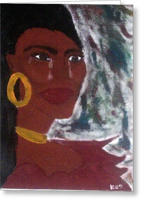 Blue Red Woman Greeting Card by Violette Meier