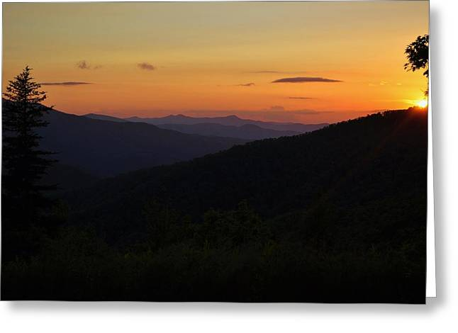 Blue Ridge Mountain Sunset Greeting Card by Jeff Moose