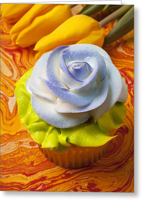 Blue Rose Cup Cake Greeting Card by Garry Gay