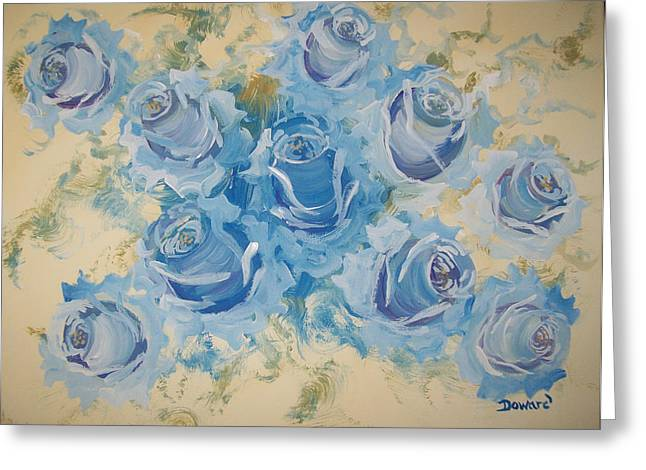 Blue Roses Abstract Greeting Card