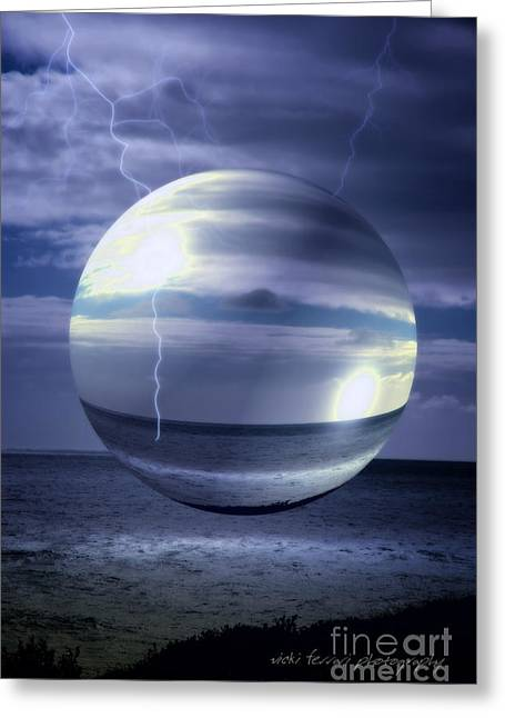 Blue Sea Hover Bubble Greeting Card by Vicki Ferrari