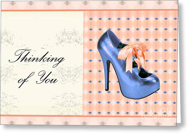 Blue Shoe On Pink Greeting Card Expresses Thinking Of You Greeting Card