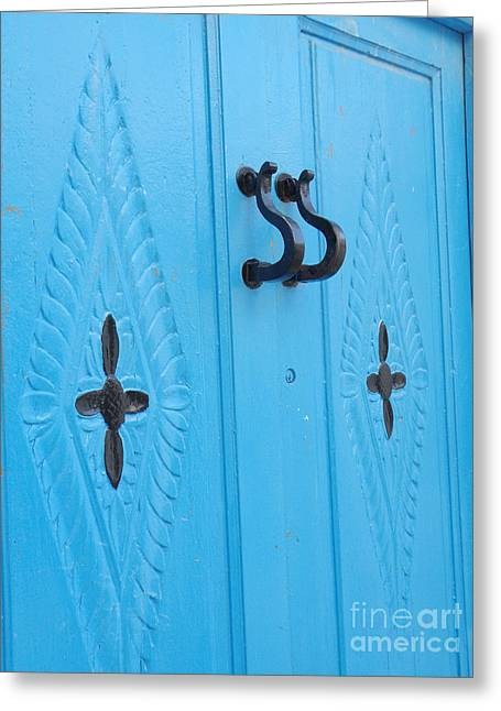 Blue Sidi Bou Said Tunisia Door Greeting Card