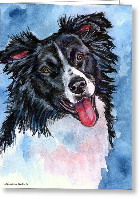 Blue Skies - Border Collie Greeting Card by Lyn Cook