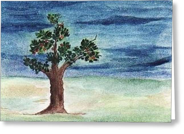 Blue Sky And A Tree Greeting Card by Nasir Iqbal Chaidhri