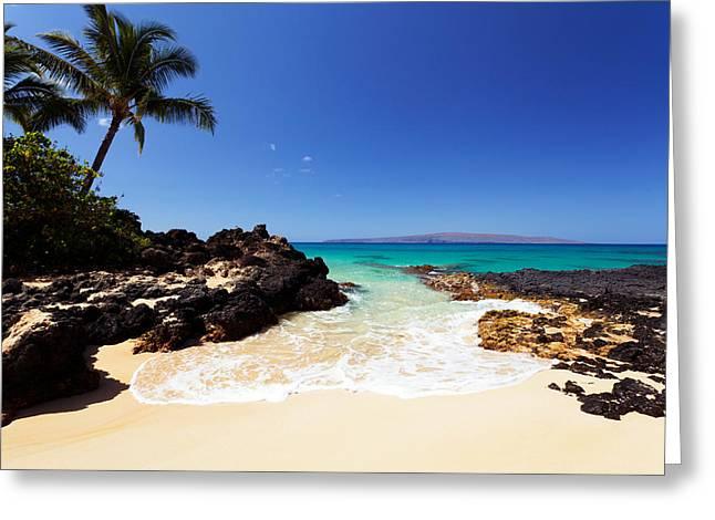 Blue Sky At Secret Beach Makena Greeting Card
