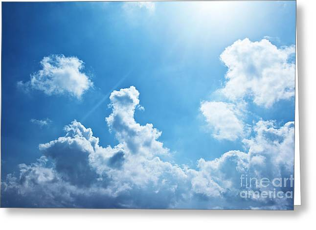 Blue Sky Background Greeting Card by Anna Om