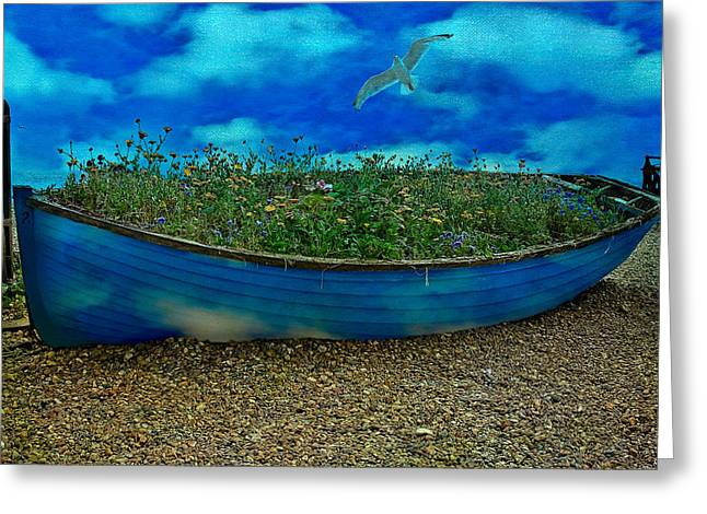 Greeting Card featuring the photograph Blue Sky Boat  by Chris Lord