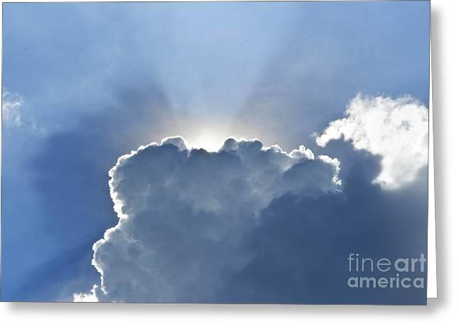 Blue Sky With Sun And Beautiful Clouds Greeting Card by Jeng Suntorn niamwhan