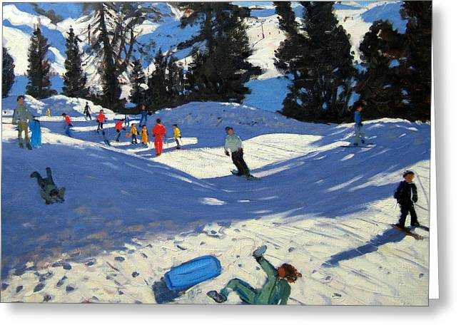 Blue Sledge Greeting Card by Andrew Macara