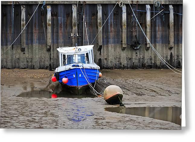 Blue Small Boat Greeting Card by Svetlana Sewell