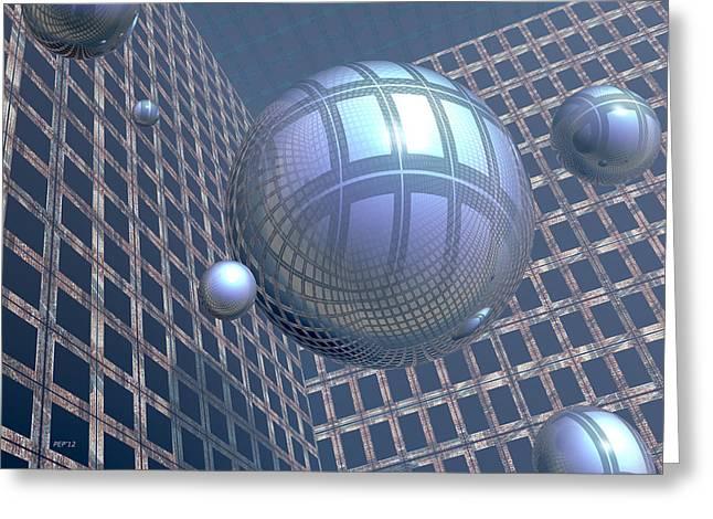 Blue Spheres Framed In Space Greeting Card