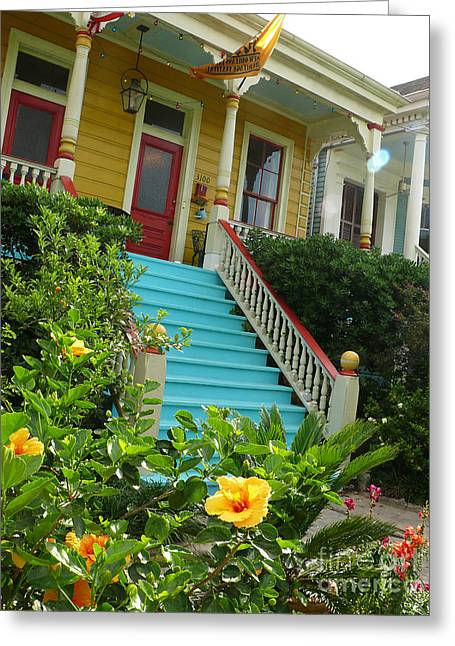 Blue Stairs Yellow House Greeting Card