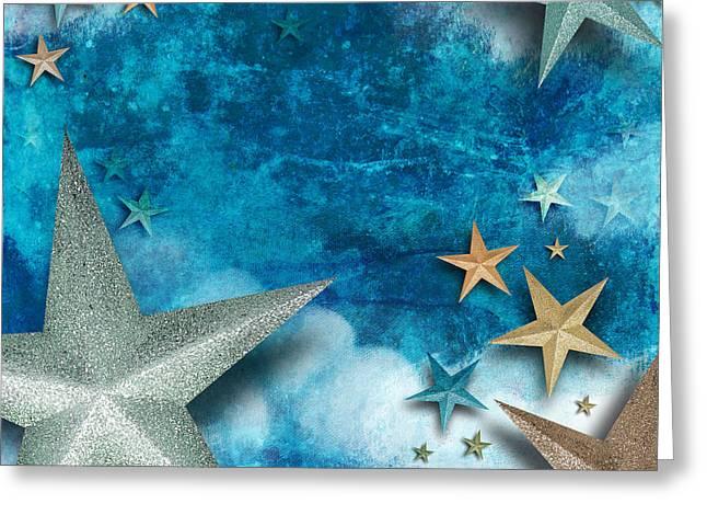 Blue Star Art Holiday Background Greeting Card by Angela Waye