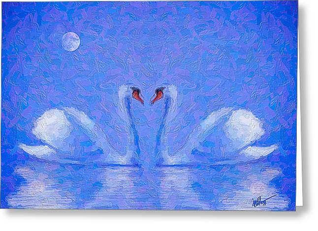 Blue Swans Greeting Card