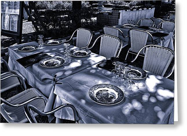 Greeting Card featuring the photograph Blue Table by Rick Bragan