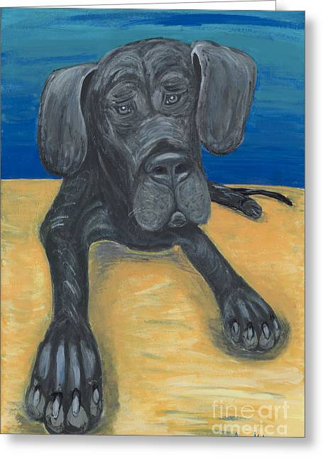 Blue The Great Dane Pup Greeting Card by Ania M Milo