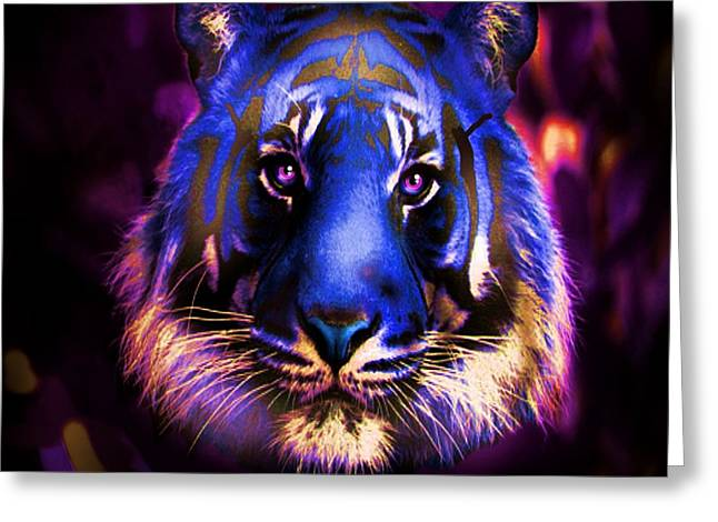 Greeting Card featuring the photograph Blue Tiger Of The Purple Forest by George Pedro