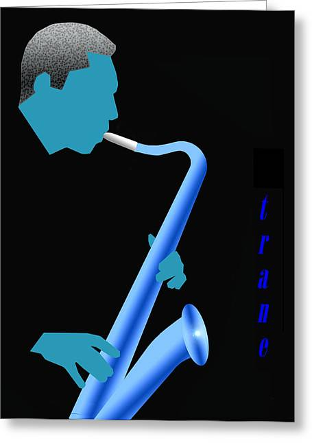 Blue Trane Greeting Card by Victor Bailey