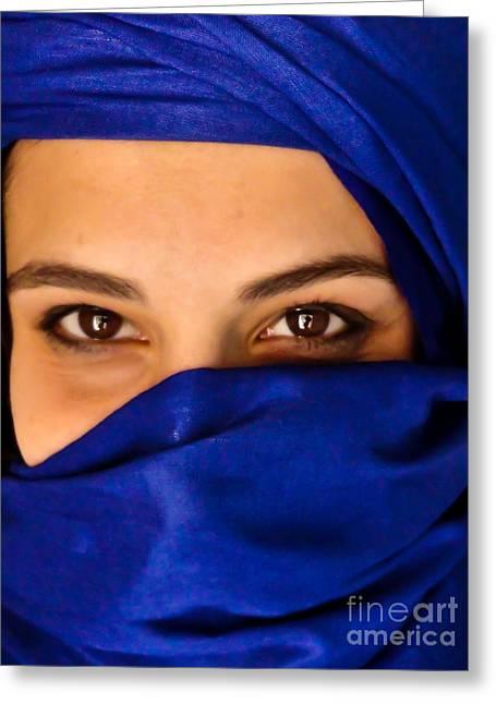 Blue Turban Greeting Card by Nabucodonosor Perez