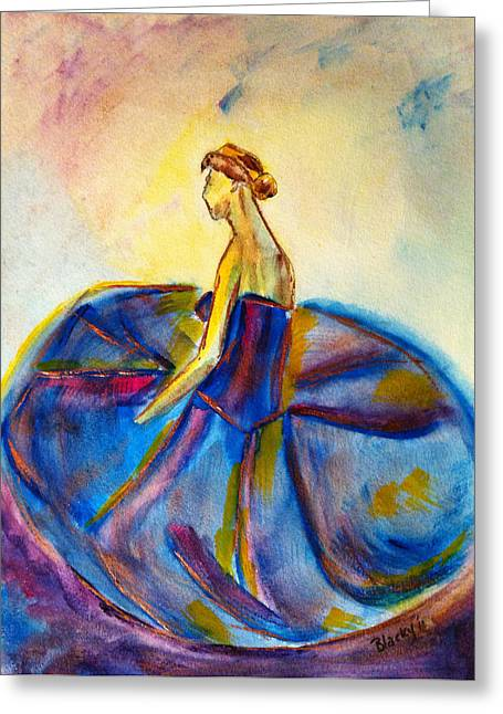 Blue Tutu Greeting Card by Donna Blackhall