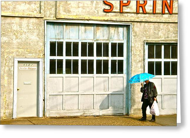 Greeting Card featuring the photograph Blue Umbrella by Brian Sereda