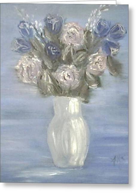 Greeting Card featuring the painting Blue Vase by Angela Stout