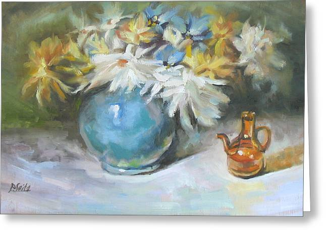 Blue Vase Greeting Card by Patricia Seitz