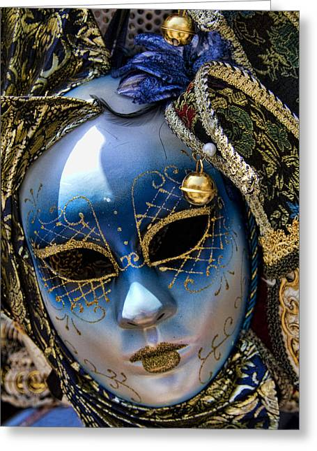 Blue Venetian Mask Greeting Card by David Smith