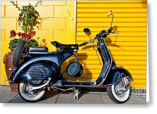 Blue Vespa Profile Greeting Card by Sonny Marcyan